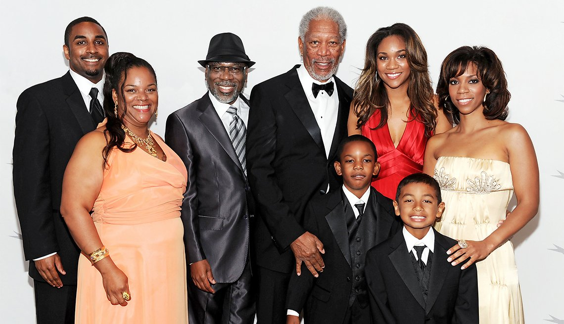 Morgan Freeman and familyin 2011