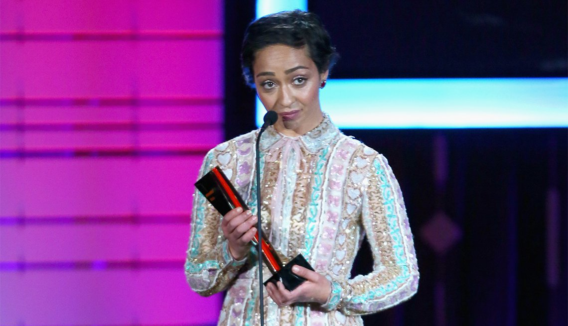 Actor Ruth Negga accepts the Best Movie award for 'Loving'