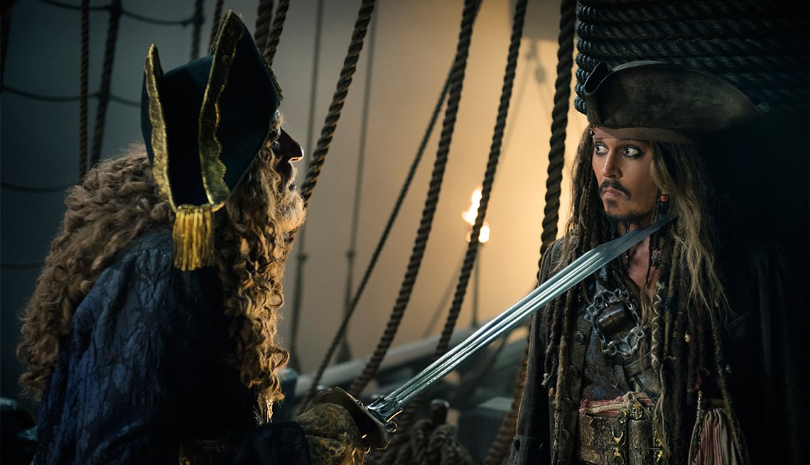 Geoffrey Rush and Johnny Depp in 'Pirates of the Caribbean: Dead Men Tell No Tales'