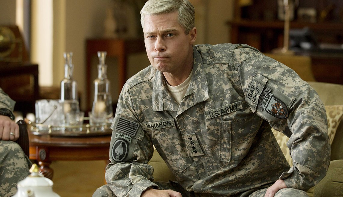 Brad Pitt stars as a four-star rock star U.S. military general in the Netflix original movie, War Machine.