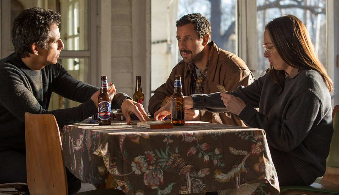 Ben Stiller, Adam Sandler and Elizabeth Marvel in 'The Meyerowitz Stories'