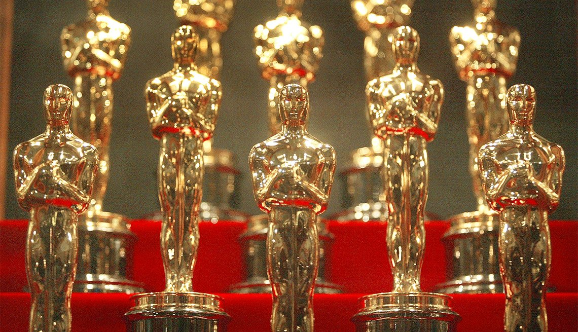 Oscar statuettes are displayed