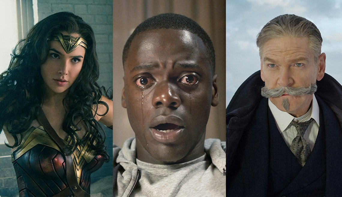 Images from the movies 'Wonder Woman, Get Out and Murder on the Orient Express'