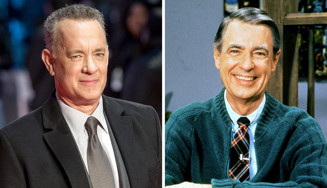 composite image of actor tom hanks and educator fred rogers