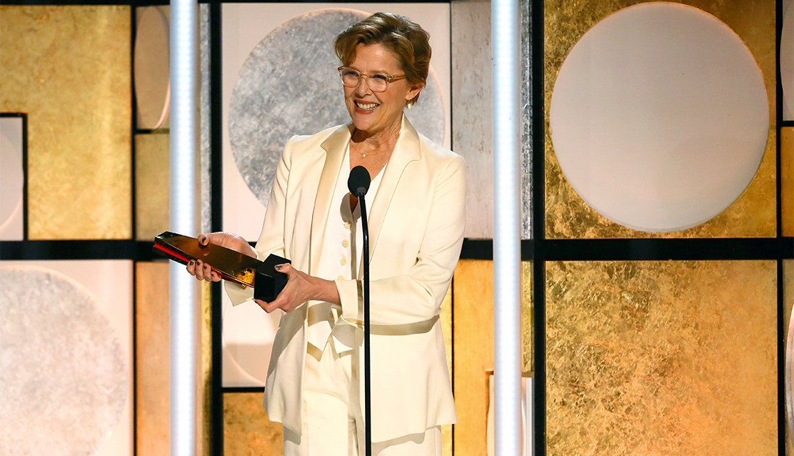 Annette Bening accepts the Best Actress award for Don't Die in Liverpool at AARP The Magazine's 17th Annual Movies For Grownups
