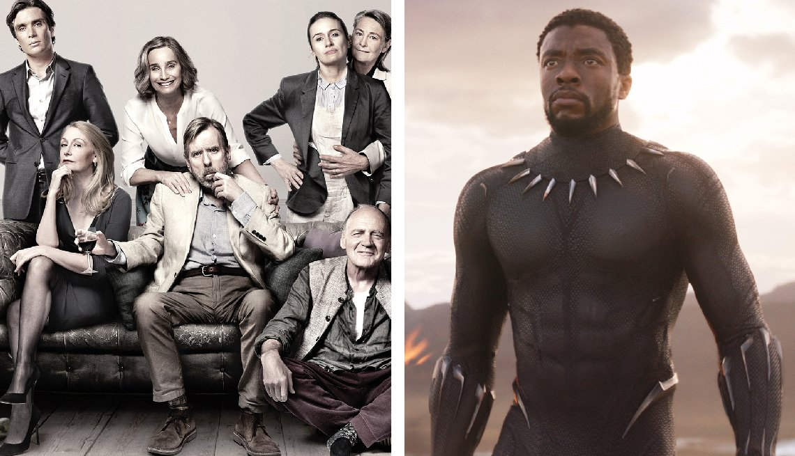 composite of stills from movies the party and black panther