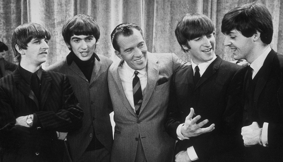 Television Show Host, Ed Sullivan, Stands And Smiles With The Beatles, Ringo Starr, George Harrison, John Lennon, Paul McCartney, The Beatles Slideshow
