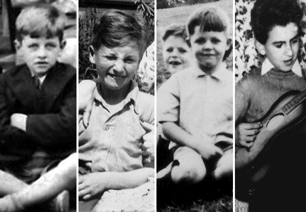 Photos of the Beatles band members as children.