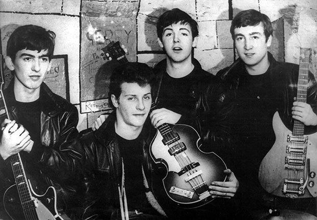 The Beatles original members, George Harrison, Pete Best, Paul McCartney, John Lennon