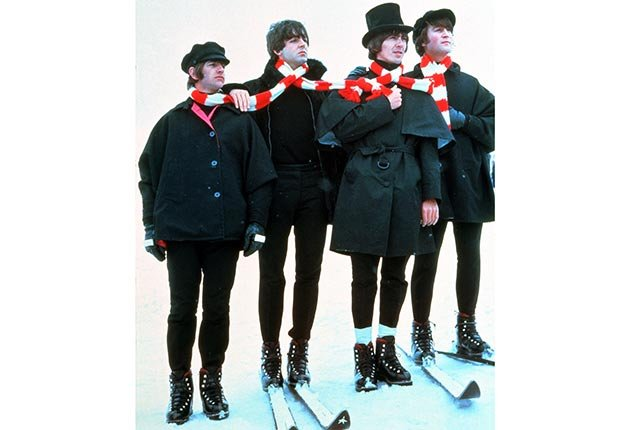Publicity still of the Beatles in Austria shooting the UA film HELP in 1965