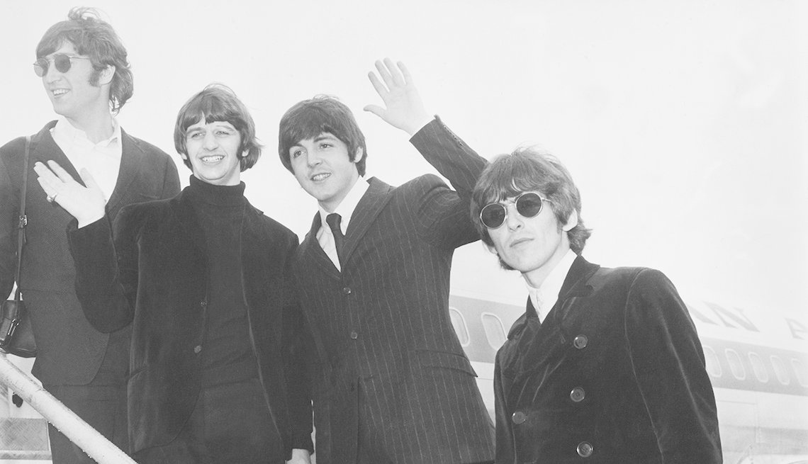 The Beatles, Band, Musicians, Singers, Airport, Airplane, John Lennon, Ringo Starr, George Harrison, Paul MacCartney, Boomer Generation Soundtrack