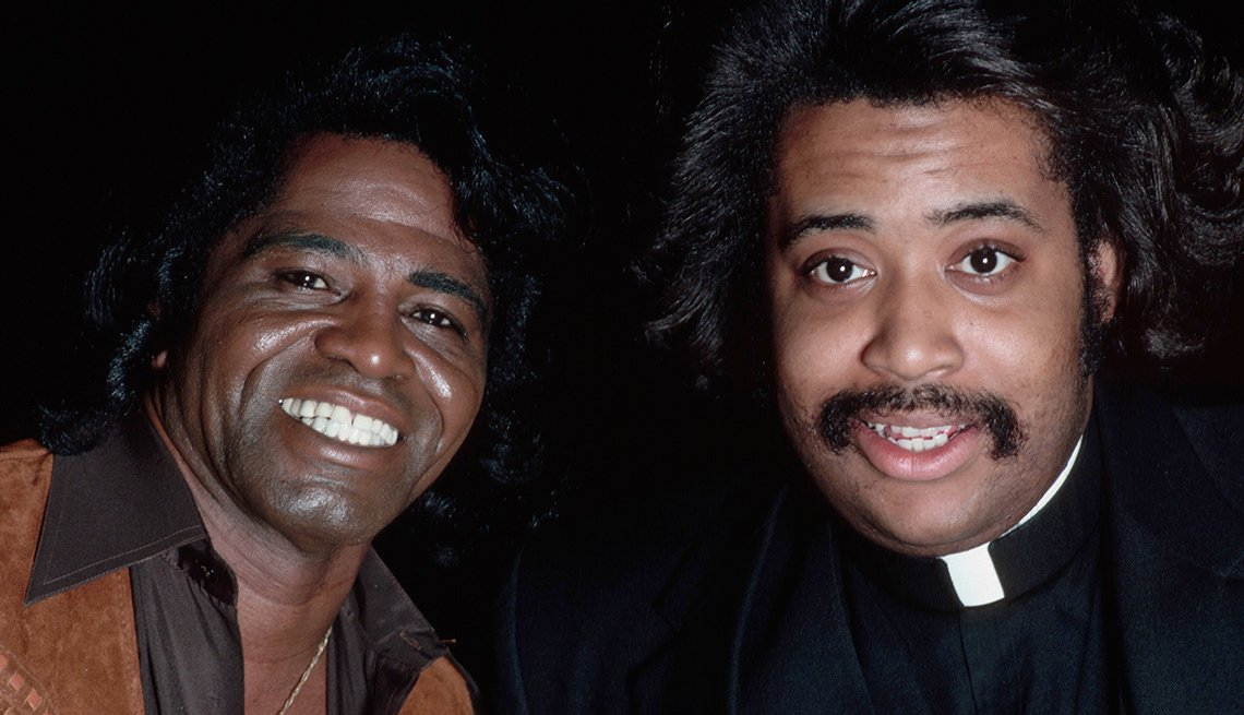 Reverend Al Sharpton Poses With James Brown, Stars Who Made James Brown A Star