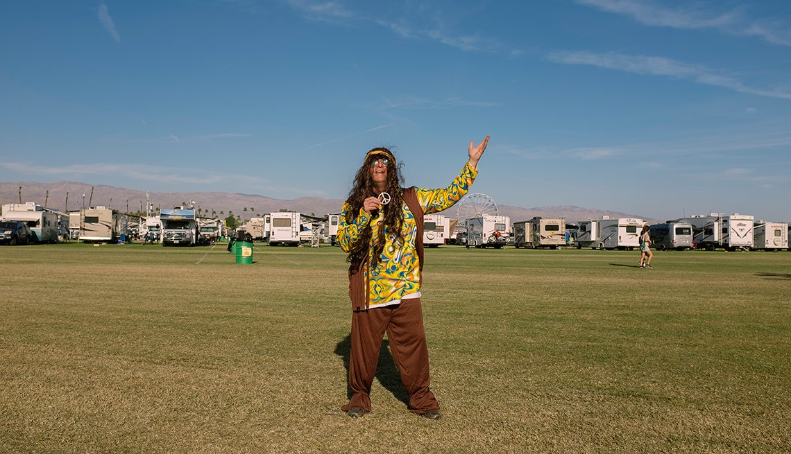 hippie at desert trip music festival