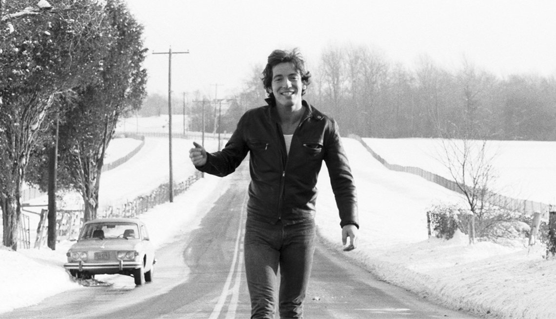 Bruce Springsteen Hitchikes for a portrait in 1977