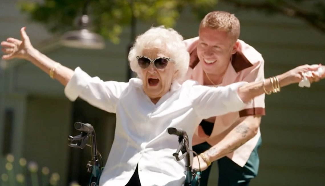 Macklemore and his grandmother in a still from the video for the song 'Glorious'