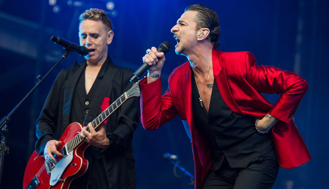 Martin Gore and Dave Gahan of Depeche Mode perform at London Stadium