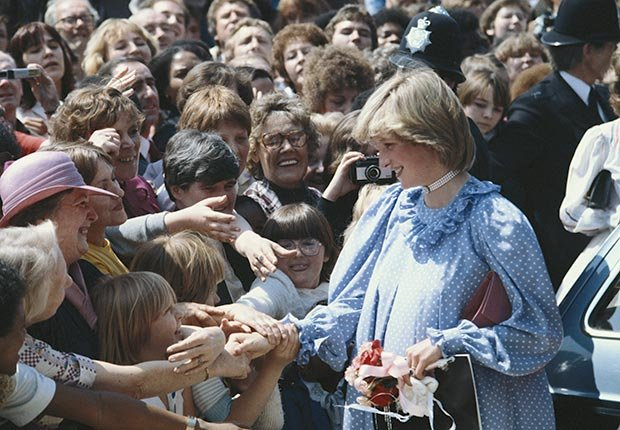 Princess Diana during a visit to a community center in May 1982. (Georges DeKeerle/Getty Images)