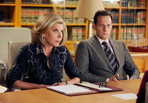 Christine Baranski and Josh Charles in The Good Wife.
