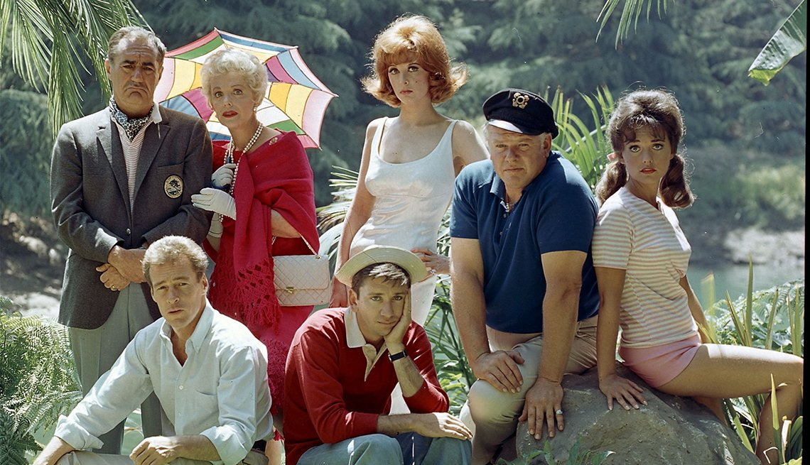 Jim Backus, Natalie Schafer, Tina Louise, Alan Hale Jr., Dawn Wells, Russell Johnson, Bob Denver, Gilligan's Island, Boomer TV Shows 1964 debut