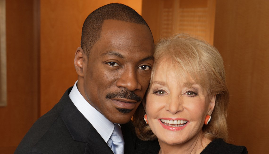 Actor And Comedien Eddie Murphy, Poses With Barbara Walters During Her Oscar Night Special, Television Program, Barbara Walters Slideshow