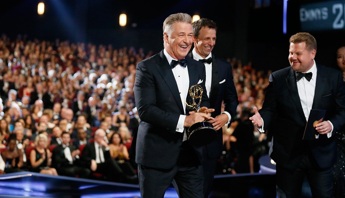 Alec Baldwin accepts the award for outstanding supporting actor in a comedy series for 'Saturday Night Live'