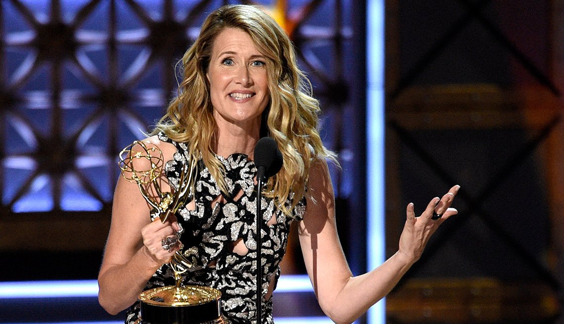 Laura Dern accepts the award for outstanding supporting actress in a limited series or movie for 'Big Little Lies'
