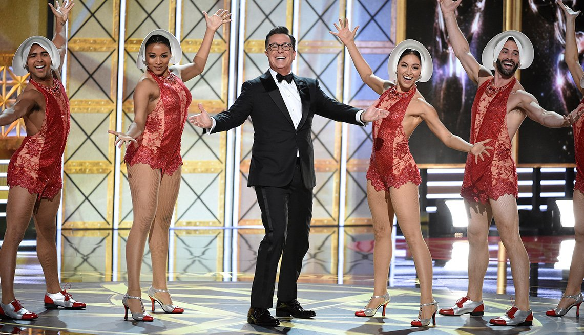 Host Stephen Colbert performs at the 69th Primetime Emmy Awards