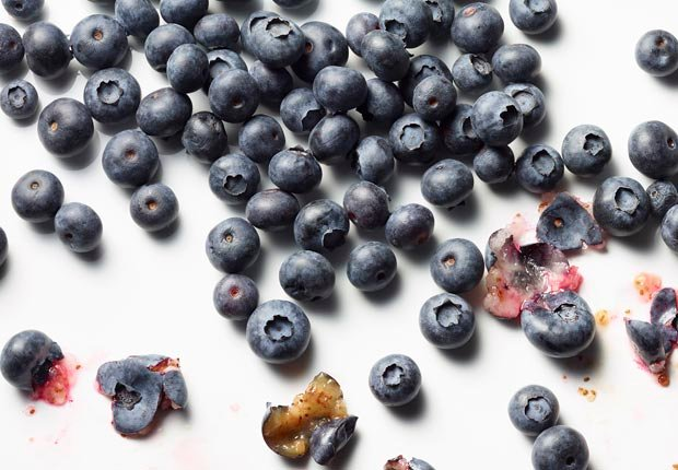 blueberries shot on white