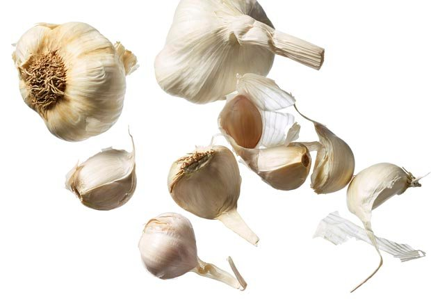 garlic cloves shot on white