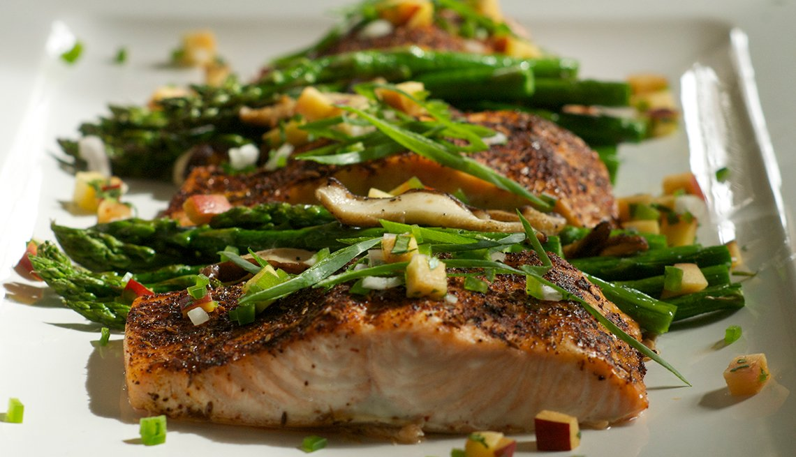 Salmon with asparagus, shitake mushrooms, plum salsa, Heart Healthy recipes