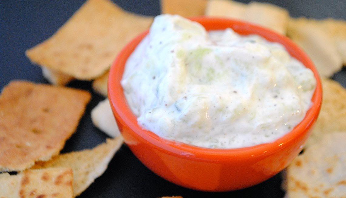 Quick Cucumber-Yogurt Dip with Pita Chips, 10 Easy Low Fat Snacks