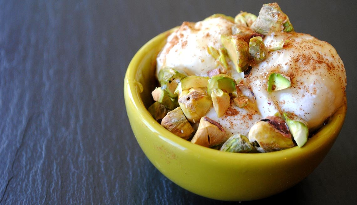 Honey-Drizzled Ricotta with Pistachios and Cinnamon