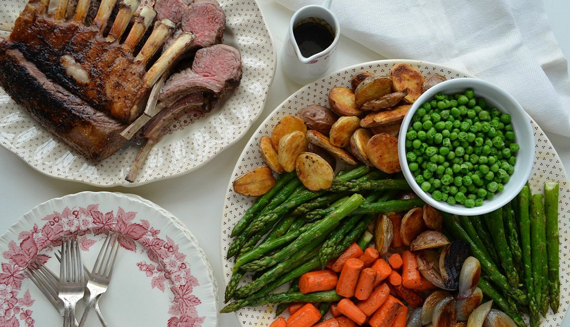 Pam Anderson, Easter Lamb Dinner, Recipe, Vegatables