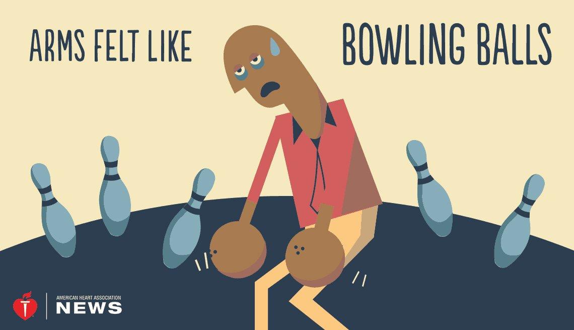Illustration of man and bowling balls
