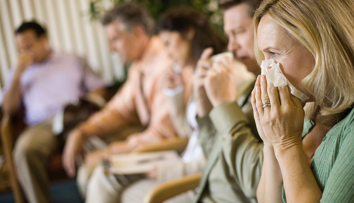Mature adults sick with flu
