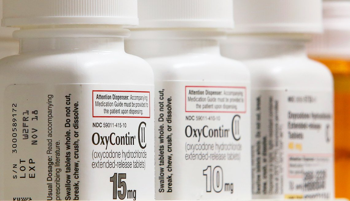 Oxycontin bottles lined up