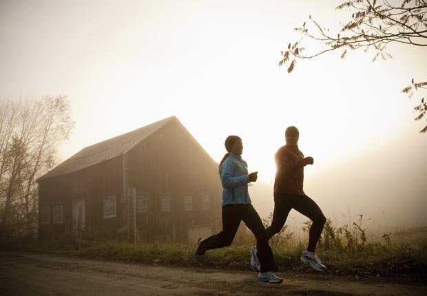 Couple running past barn, Make the most of your morning