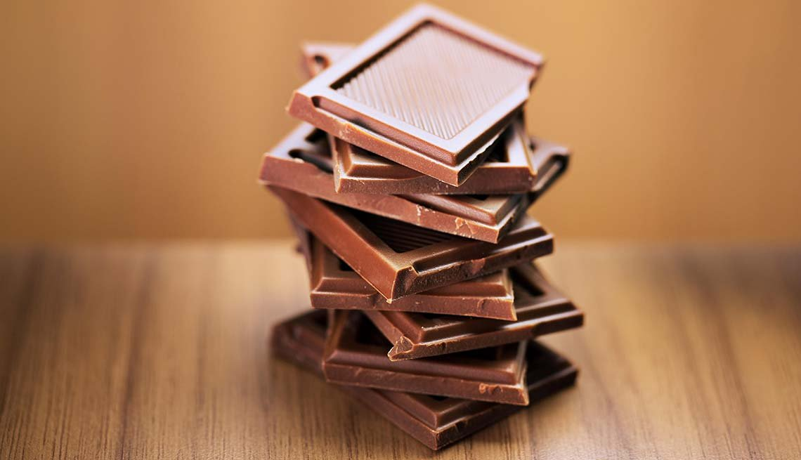 Stack of Chocolate squares, Chocolate Reduces Stress