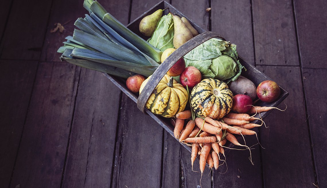 A basket of vegetables, Health Numbers You Need to Know, 7 daily servings of fruits and vegetables