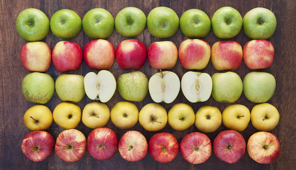 Apples in grid display, Fat Busting Fall Foods