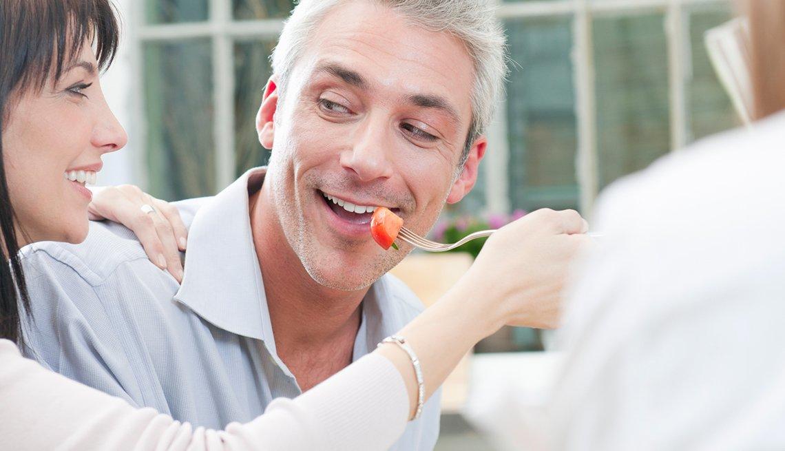 Woman feeds a man, Good Habits Go Bad