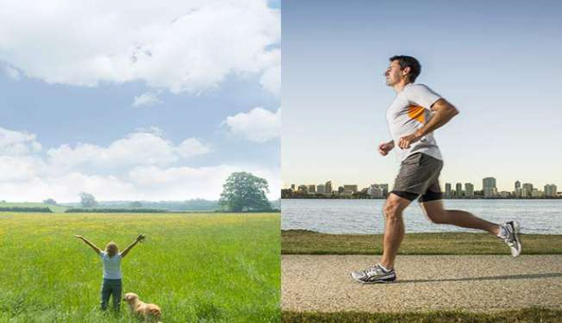 Woman in a field, Man jogging on urban river path, combo, Mini workouts