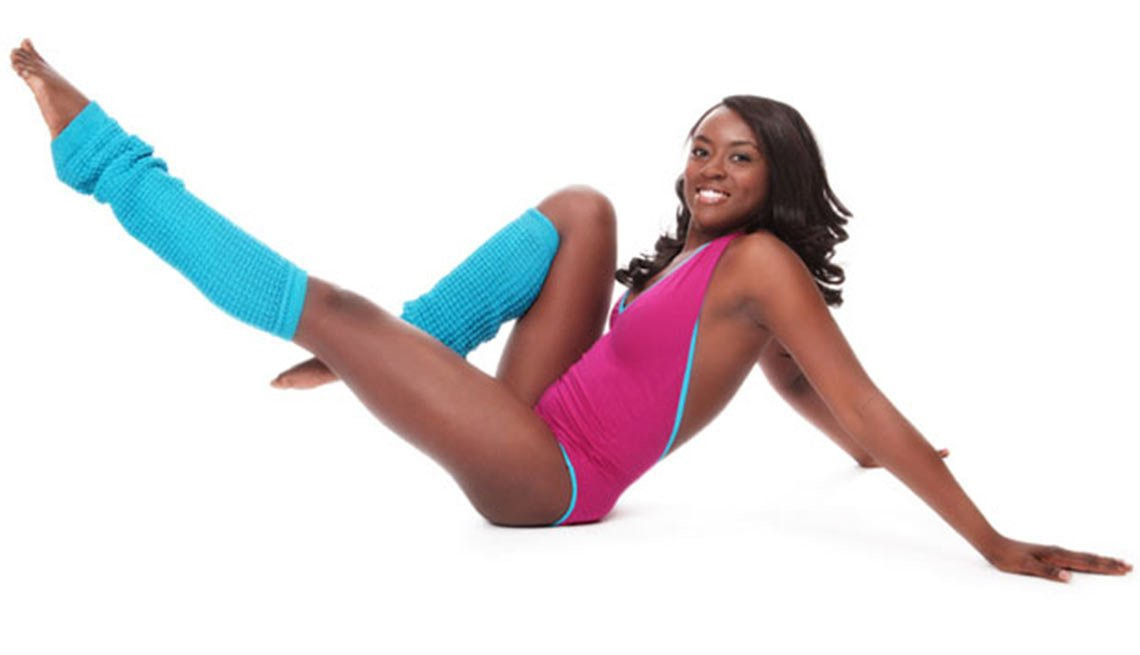 Woman in leg warmers, fitness accessories, Boomer Fitness Fads