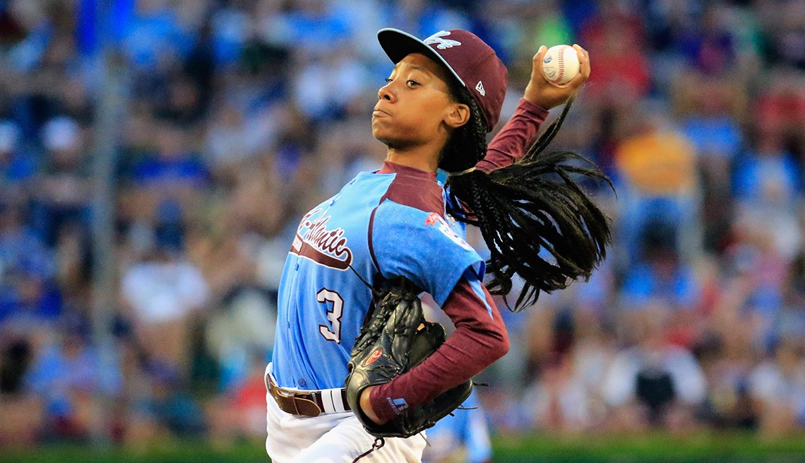 Mo'ne Davis Pitches, Wind up, Blue and Burgundy Uniform, How to Quadruple Your Energy