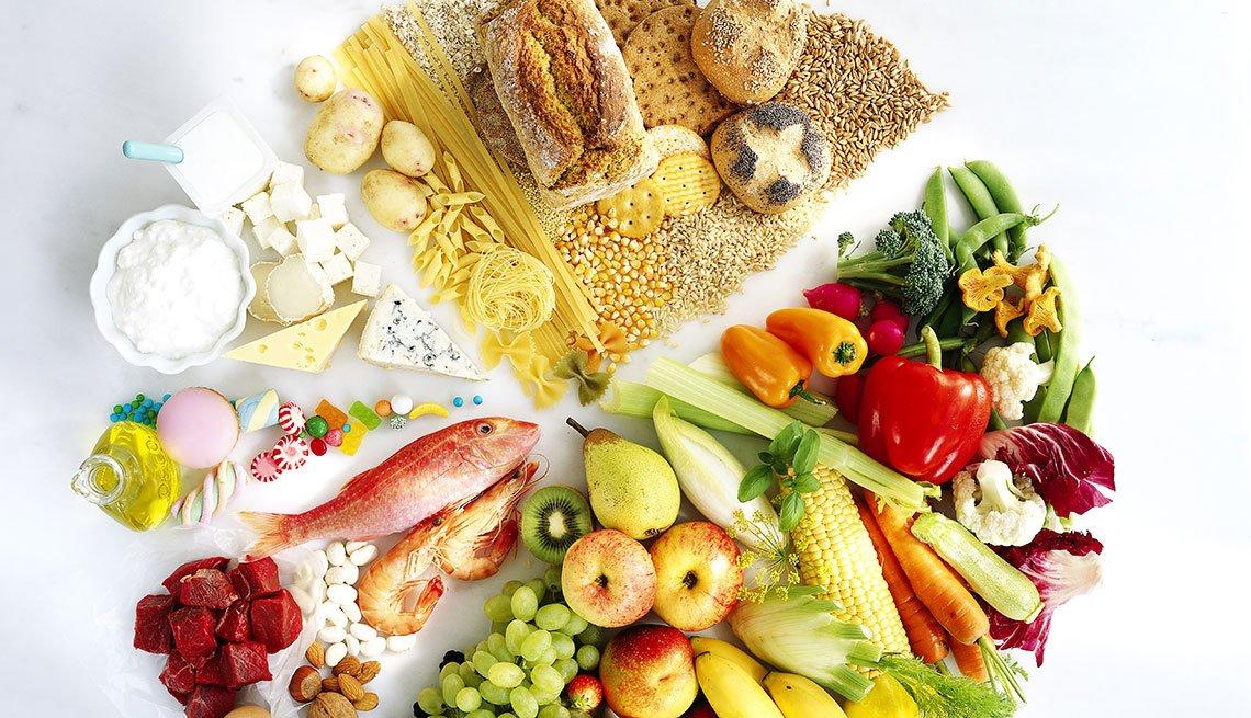 Diferentes grupos de alimentos