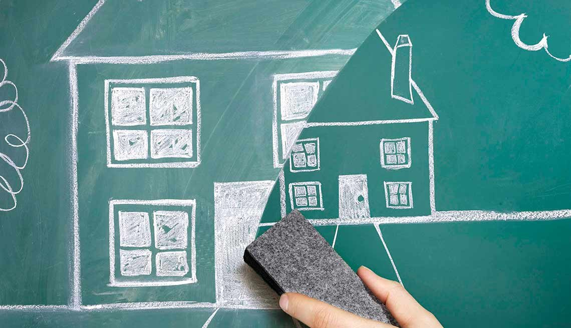 Chalkboard drawing of downsizing your home, Downsizing for retirement