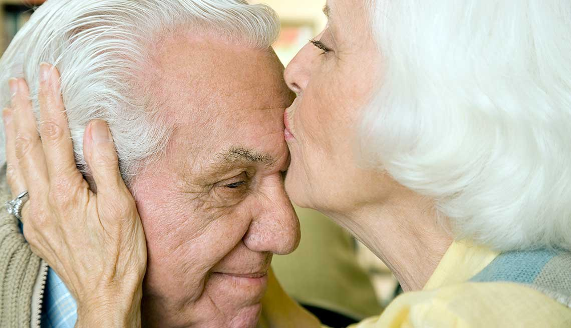 An elderly couple kissing, Understanding Long-Term Care Insurance