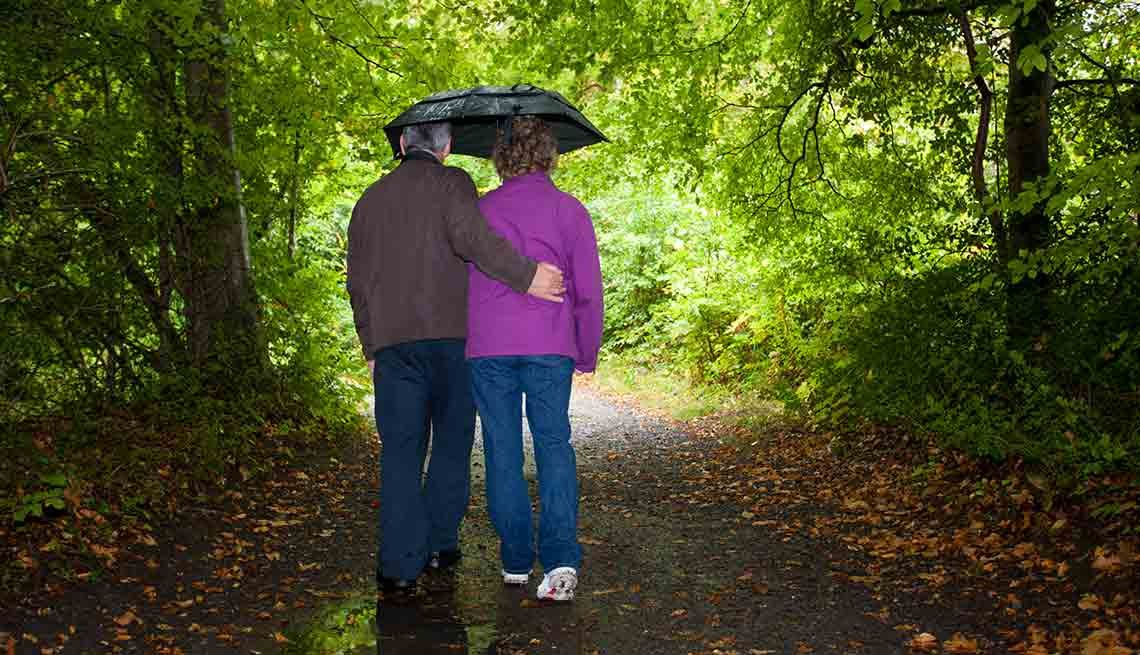 Couple walking in rain, Jane Bryant Quinn: Financial planning for family with special needs