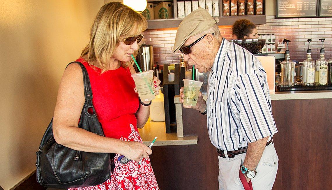 Amy Goyer, Robert Goyer, drinking coffee,