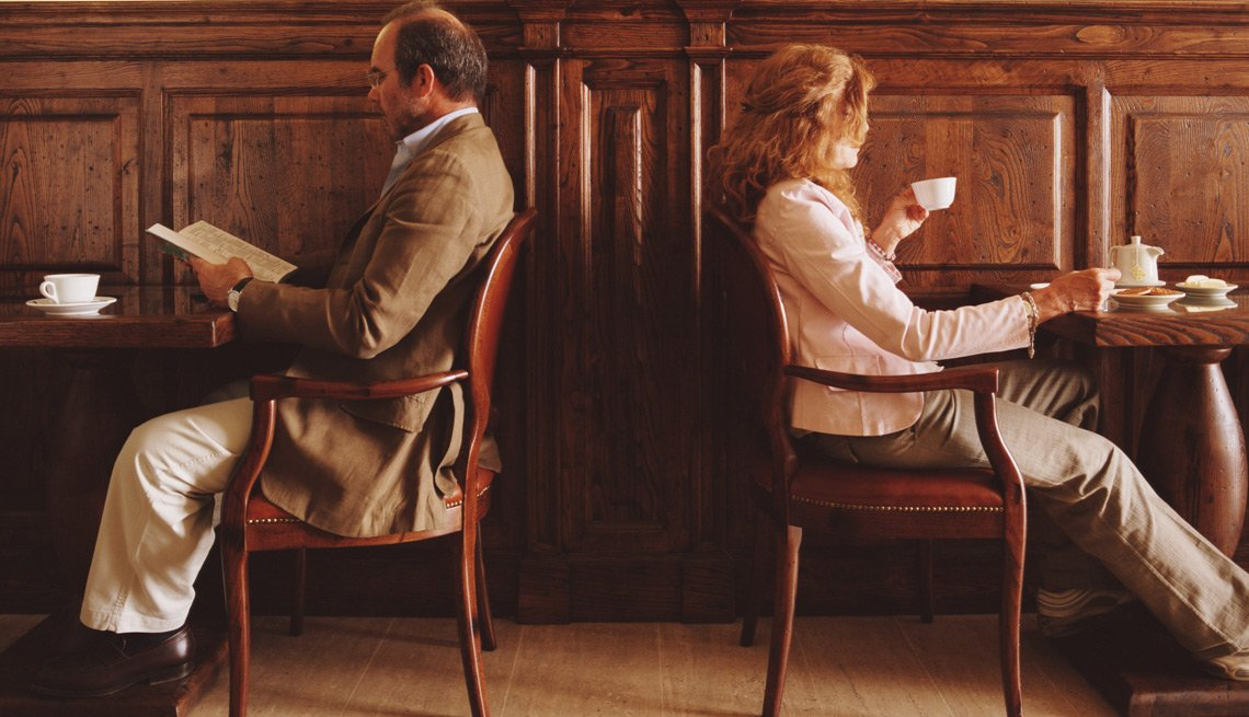 Man and Woman Sitting Back To Back In a Cafe, Dating With a Broken Heart